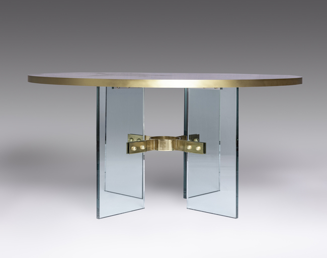 The Jules Center / Dining Table by Studio Van den Akker with Resin and Metal Top by Wud